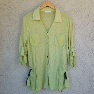 Zoe Heathered Lime Tab Sleeve Button Up Blouse